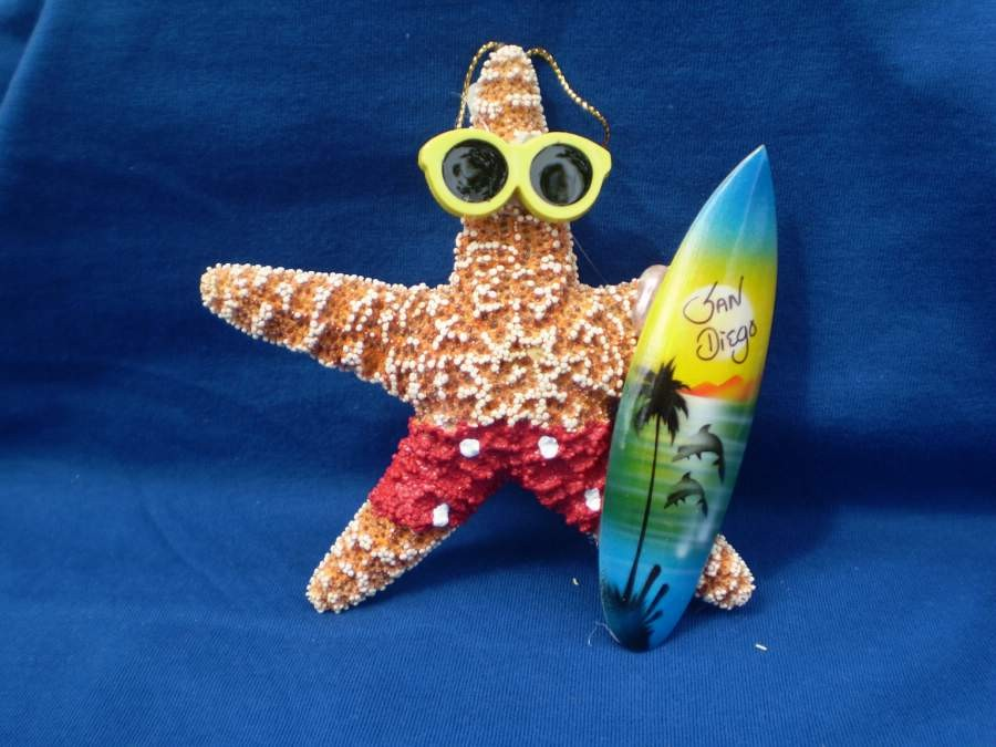 Starfish Surfer Boy Ornament