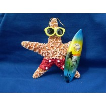 Starfish Surfer Girl Ornament